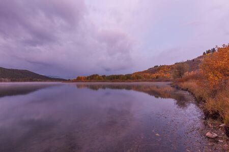 oxbow: Autumn Sunrise Reflection Stock Photo
