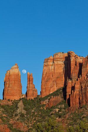sedona: Moonrise Over Cathedral Rock Sedona Arizona Stock Photo