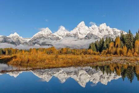 teton: Teton Autumn Reflection Stock Photo