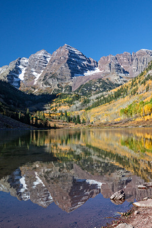 maroon: Maroon Bells in Fall Stock Photo