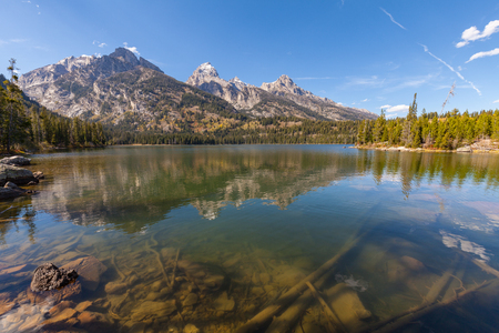 Taggart Lake Teton National Park Wyoming in Fall Stock Photo