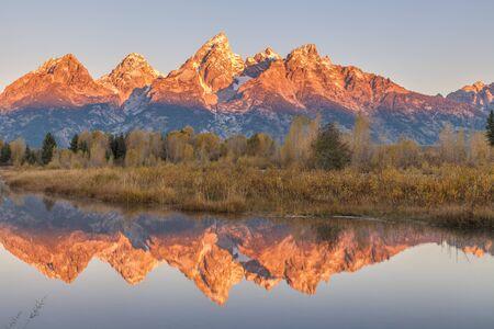 teton: Teton Sunrise Reflection Stock Photo