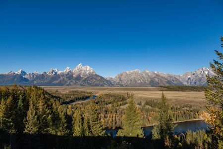 overlook: Tetons from Snake River Overlook in Fall Stock Photo