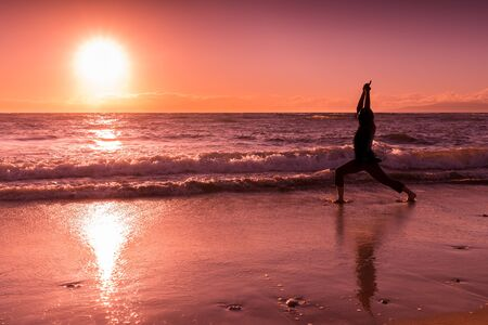 Yoga at Sunset on a Maui Beach