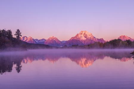 teton: Teton Sunrise Reflection in Fall Stock Photo