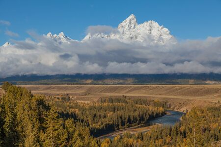 overlook: Snake River Overlook in Fall Stock Photo