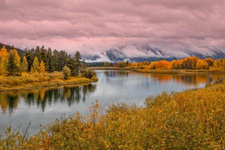 oxbow: Teton Fall Reflection Stock Photo