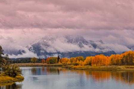 Teton Fall Reflection Stock Photo