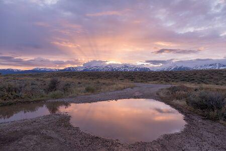 Teton Sunrise Reflection Stock Photo