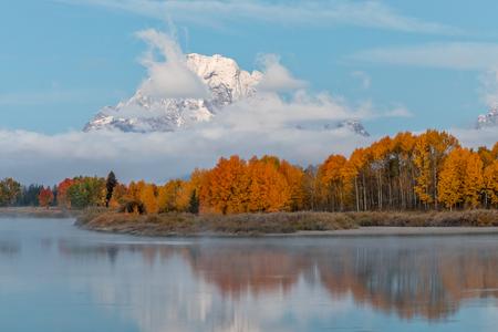 Teton scenic reflection in autumn Stock Photo