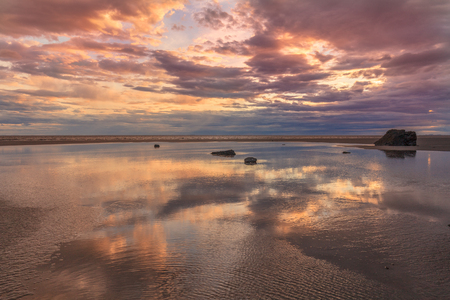 Cook Inlet Alaska Sunset at Low Tide Stock Photo