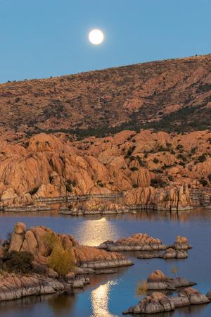 Moonrise Over Watson Lake Prescott Arizona