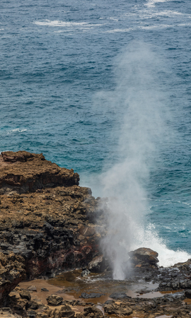 Scenic Nakalele Blowhole Maui Stock Photo