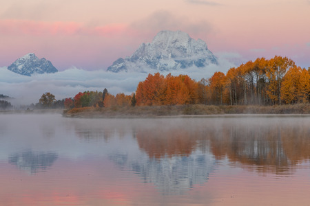 Teton Scenic Autumn Sunrise Reflection