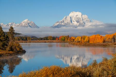 Teton Herbstreflexionslandschaft Standard-Bild