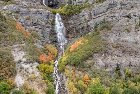 Scenic Bridal Veil Falls Utah in Autumn