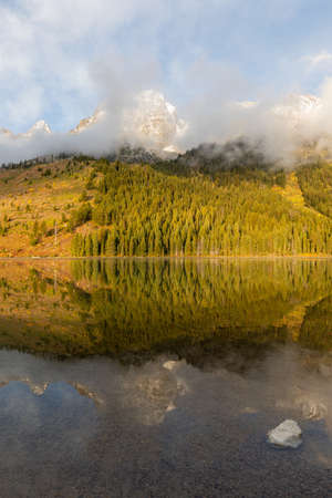 Scenic Reflection Landscape in Grand Teton National Park Wyoming in Autumn Standard-Bild