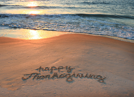 beach: Happy Thanksgiving Stock Photo