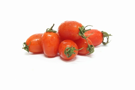 lycopene: Cherry tomatoes on white background Stock Photo