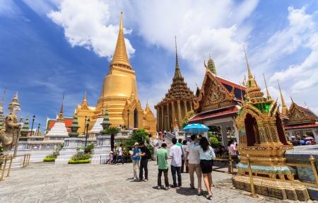 Golden pagoda  at Wat Pra Kaew,Royal grand palace Editorial