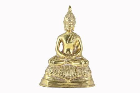 Statue of Buddha over white background photo