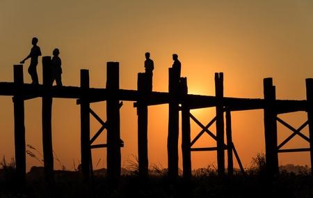 Silhouette bridge,Myanmar