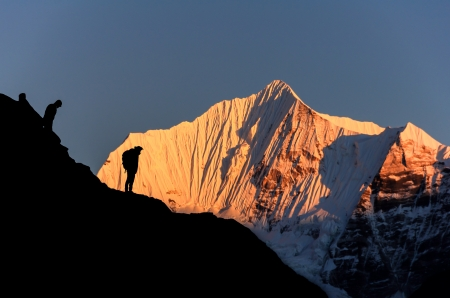 Sunset at Himalaya ,Nepal Standard-Bild