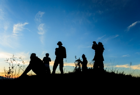 Silhouette group of people Stock Photo - 22224911