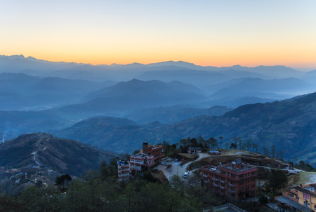 view of central Himalayas from Nagarkot near Kathmandu