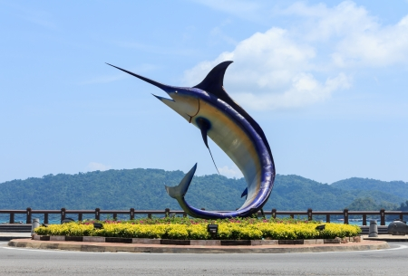 mago merlin: Kota Kinabalu, Sabah, Malasia Merlin monumento Editorial