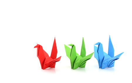 group of paper birds Stock Photo