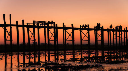 U-ben bridge,Myanmar Stock Photo