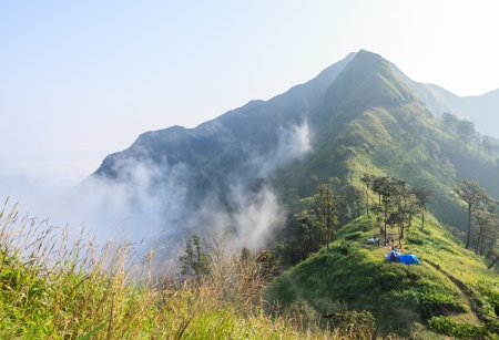 Camping on the high mountain Stock Photo