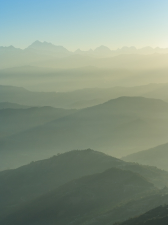 Himalaya range view from Nagarkot village Stock Photo