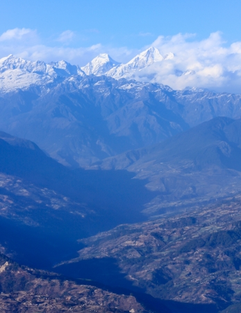 Himalaya range view from Nagarkot village Stock Photo