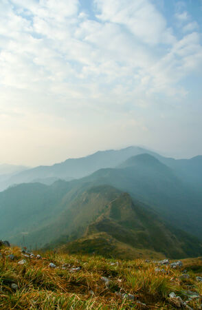 mountain range in the winter season