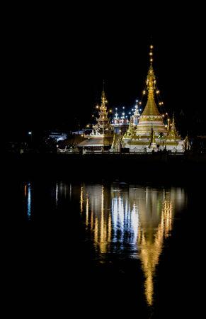 reflec of pagoda in Thailand Stock Photo