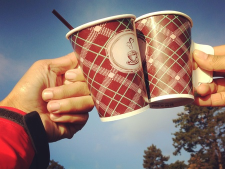 Hot coffee at camp ground with friend