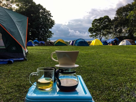 coffee break at camp site