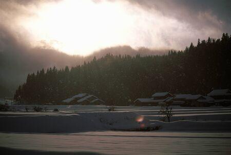 冬の山里 写真素材