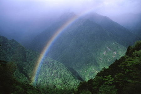 Mountain rainbow 写真素材