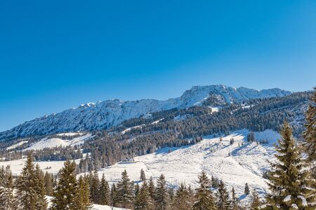 panoramic view of oberjoch in winter (bavaria)