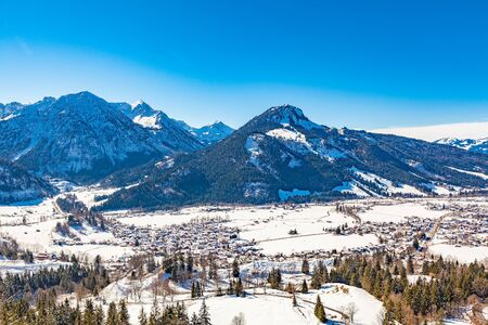 panoramic view from oberjoch in winter