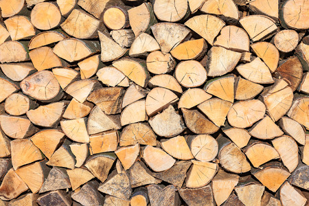 stack of firewood: view of a stack firewood for winter Stock Photo