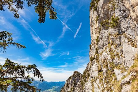 Alpinism trail in high mountains Stock Photo
