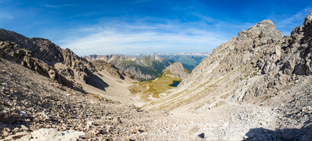 panorama from the highest point of the gramais to boden road in the lech velley mountains  in austria