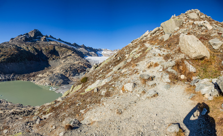 Hiking at the Furka Pass in Switzerland