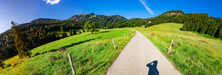 On the way in Au Valley in the Allgaeuer Alps  - Panorama Stock Photo
