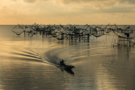 fishery: Commercial fishery use big fishnet in lake. Stock Photo