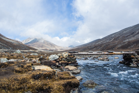 dews: Mountain dews frozen to thaw become a natural stream in Sikkim,India Stock Photo